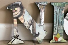 "Where the Wild Things Are theme- FREE SHIPPING- Custom Designed 7.5"" wood letters nursery decor baby toddler child boys girls custom signs"
