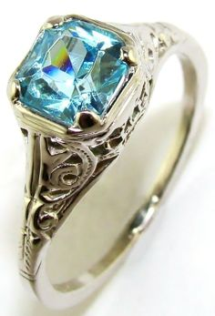 Antique Blue Zircon Ring | Blue Zircon Antique Filigree Ring