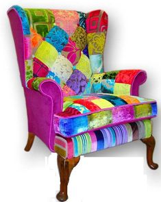Patchwork wing back armchair in Designers Guild velvets and plain sides. via Etsy. Funky Furniture, Recycled Furniture, Classic Furniture, Shabby Chic Furniture, Funky Chairs, Colorful Chairs, Boho Couch, Patchwork Chair, Diy Chair