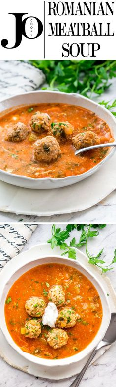 This Romanian Meatball Soup (Ciorba de Perisoare) is my mom's recipe for the most delicious meatball soup out there. Soup Recipes, Great Recipes, Dinner Recipes, Cooking Recipes, Healthy Recipes, Cooking Ideas, Interesting Recipes, Easy Recipes, Dinner Ideas