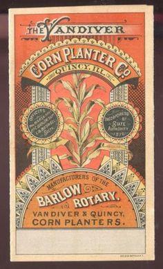 Quincy-IL-Vandiver-Corn-Planter-Co-Rare-Vict-4-Panel-Trade-Card-Barlow-Rotary