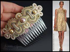 Peinecillo soutache Bead Embroidery Jewelry, Beaded Embroidery, Beaded Jewelry, Handmade Accessories, Handmade Jewelry, Hair Accessories, Soutache Tutorial, Soutache Necklace, Hair Decorations
