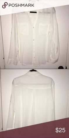 Express Portofino white shirt White Portofino shirt in like new condition (worn once or twice). Can be worn with sleeves rolled up or left down. Express Tops Button Down Shirts
