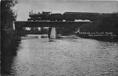 MI - 1909 REAL PHOTO Railroad Bridge Columbiaville, Michigan - Lapeer County