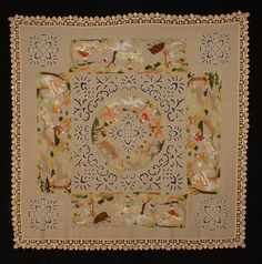RICHELIEU EMBROIDERED TABLE COVER, SIECLE, PARIS, 20th C. Linen square with cutwork and colorful embroidered hunting scenes, trimmed with crochet border. 66 x 66.