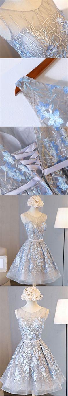 2017 Homecoming Dress Beautiful Silver Lace Scoop Short Prom Dress Party Dress JK209