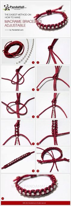 Jewelry Making IdeaHow to Make Adjustable Macrame Bracelets It is another bracelet making tutorial, at meanwhile, I will emphasize the subject about how to make macrame bracelets adjustable in simple way again. Especially for those who learn to knot for j Macrame Jewelry, Macrame Bracelets, Wire Jewelry, Jewelry Crafts, Jewelry Ideas, Handmade Jewelry, Wire Rings, Macrame Knots, Jewelry Shop