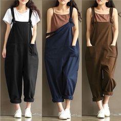 267da3e6f81d Women Casual Linen Pants Cotton Jumpsuit Strap Harem Trousers Overalls   fashion  clothing  shoes