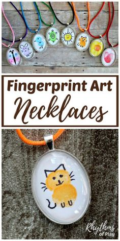 Use your fingers and thumbs to create fingerprint artwork! Then, take your creation and turn it into a necklace! DIY fingerprint art necklaces are a fun, easy & personalized craft.and they make the perfect gift! Creative Activities For Kids, Diy For Kids, Crafts For Kids, Fingerprint Crafts, Fingerprint Jewelry, Kids Necklace, Art Necklaces, What Are Crystals, Creation Crafts