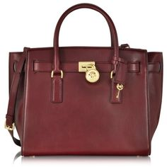 Michael Kors Hamilton Traveler Large Leather Satchel found on Polyvore