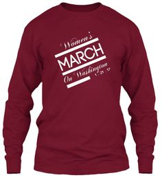 Women's March On Washington 1 . 21 . 17 Cardinal Red Long Sleeve T-Shirt Front