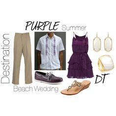 """Purple Attire for a Summer, Beach, or Destination Wedding"" by debra-torres on Polyvore  Attire Outfit Idea for Groomsmen and Bridesmaids at a Purple Themed Casual Wedding"