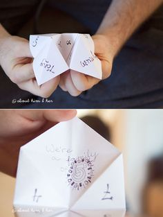 With a cootie catcher: | 29 Awesome Ways To Tell Everyone You're Preggers