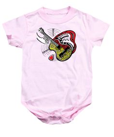 Guitar Love Onesie for Sale by Colleen Proppe Red Art, Valentine Gifts, Onesies, Guitar, Paintings, Gift Ideas, Paint, Gifts For Valentines Day, Painting Art