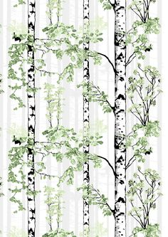 cotton Designed by Riina Kuikka for Vallila Black and white birch trees with leaves in various shades of green with gray reach toward the sky. We have 1 piece, Free domestic shipping on this item No Sew Curtains, Rod Pocket Curtains, White Birch Trees, Line Flower, Tree Forest, Marimekko, Slipcovers, Home Decor, Bomull