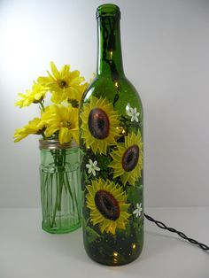 Lighted Wine Bottle Sunflowers Green Hand Painted 750 ml
