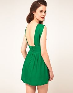 Sessun Sleeveless Dress With Fitted Waist And Low Back in Silk - LOVE this dress