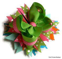 Girls hair bows Boutique hair bow Green and Pink Hair bows Bright Colors Polka Dot hair bow via Etsy