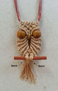 Small Owl Macrame Necklace Direction. (Could also be a Christmas Ornament.)