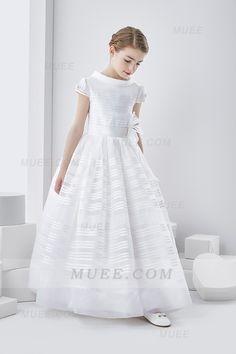 4398386e44b Elegant Short Sleeve Princess Long Organza First Communion Dress With Bow  Best Wedding Dresses
