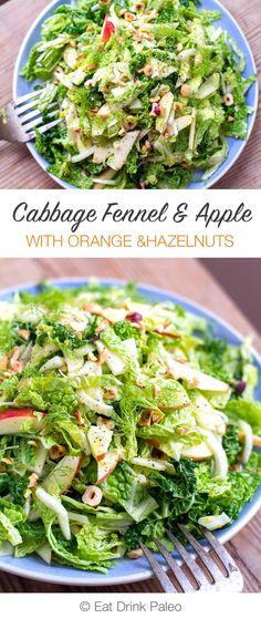 Cabbage Fennel Apple Slaw Salad With Orange Hazelnut (Paleo, Gluten-Free, Vegan, Vegetarian) Fennel Recipes, Slaw Recipes, Cabbage Recipes, Vegetarian Recipes, Cooking Recipes, Healthy Recipes, Vegan Vegetarian, Vegetarian Sandwiches, Going Vegetarian