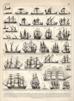 Vieux navires Print Antique 1897 Vintage par Craftissimo sur Etsy