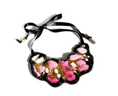 Pink and Gold bib necklace textile jewelry forest by BatizJewelry, $110.00