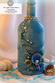 crafts with seashells and bottles 20 - Viral Decoration - Crafts with Seashells and Bottles 27 Декупаж декор бутылок Decoupage Bottle Art - Glass Bottle Crafts, Wine Bottle Art, Painted Wine Bottles, Diy Bottle, Decorated Bottles, Bottle Lamps, Crafts With Bottles, Bottles And Jars, Decorative Glass Bottles