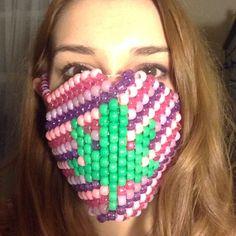 Accessories - Pink pot leaf kandi mask