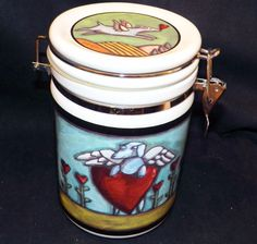 Flight of the Blue Dog Treat Canister Cookie Jar Ursula Dodge Signature 1.75 qt