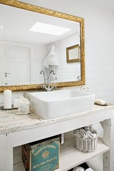 Vanity for either bath. Repourposed shabby furniture piece with top mount sink.