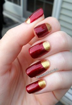 Iron man nails. I always want to do gold half-moons, either with green or cranberry/maroon!