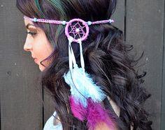 Extra große Regenbogen Dreamcatcher Feder Stirnband von VividBloom