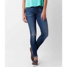 Flying Monkey Skinny Stretch Cropped Jean ($60) ❤ liked on Polyvore featuring jeans, blue, ripped jeans, denim skinny jeans, super skinny jeans, distressed skinny jeans and blue skinny jeans