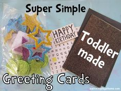 {Super Simple Greeting Cards for kids} Literacy, fine motor, creativity, communication. Why buy cards when your kids can make them? #diy