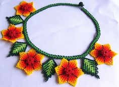 Mexican Huichol Beaded flower necklace by Aramara on Etsy, $27.00