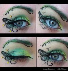 Butterfly Wings Instead of just a simple cat eye, draw butterfly wings on both sides of your eye then use green and yellow eye shadow to add color to your look. This is the perfect eye make up for a fairy or butterfly costume.