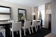 divine linen curtains and styling in this glamorous neutral dining room