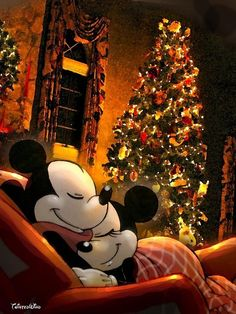 Disney - Mickey and Minnie - the night before Christmas Retro Disney, Disney Love, Disney Magic, Disney Style, Mickey Mouse And Friends, Mickey Minnie Mouse, Disney Mickey, Mickey And Minnie Love, Mickey Mouse Cartoon