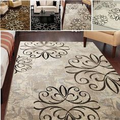 Area Rug Stain Resistant Durable Iron Fleur Living Room Family Dining Entryway