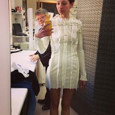 inspirationii:  Amanda Sanchez (Chanel cabin model) and madame Martine (première of Chanel Haute Couture atelier) fitting first model of the Haute Couture collection Fall Winer 2013/2014.