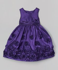 Look what I found on #zulily! Purple Rosette Babydoll Dress - Infant, Toddler & Girls by Gerson & Gerson #zulilyfinds