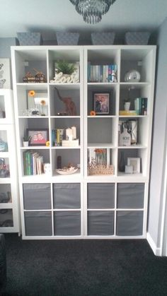 Ikea Kallax Book Wall, Expedit Alternative.  Grey and White.
