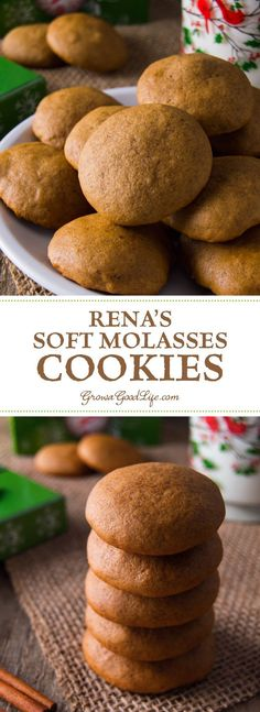 Rena's Soft Molasses Cookies These soft molasses cookies are filled with the warm holiday flavors of cinnamon, cloves, ginger, nutmeg, and molasses. They are delicious with a glass of milk or coffee. Brownie Cookies, Yummy Cookies, Super Cookies, Ginger Cookies, Chip Cookies, Baking Recipes, Cookie Recipes, Dessert Recipes, Bar Recipes