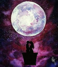 Fabulous Silhouette Painting by Danielle Foye. Galaxy Painting, Galaxy Art, Art Plastic, Silhouette Painting, Spray Paint Art, Wow Art, Painting & Drawing, Moon Painting, Art Inspo
