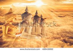 Buddha statue abstract background with the cloud and the sun light.