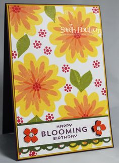 Stampin' Sarah!: A Blooming Birthday Card using Flower Patch from Stampin' Up!. Purchase from www.stampinsarah.stampinup.net
