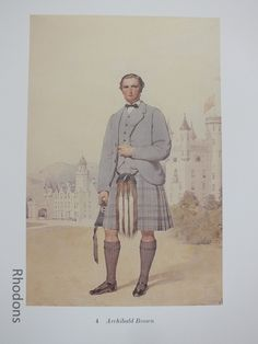 Scottish Clansman Print By Kenneth Macleay RSA - Archibald Brown Good Vintage Colour Bookplate Print of the Century Scottish Clansm. Antique Prints, Vintage Prints, Vintage Colors, Retro Vintage, 19th Century, Antiques, Brown, Scotland