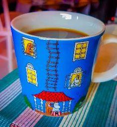Todays Moomin mug. Moominmamma, Moomintroll, and Sniff at the Moominhouse. Moomin Mugs, Museum, Coffee, Tableware, Kaffee, Dinnerware, Dishes, Museums, Cup Of Coffee