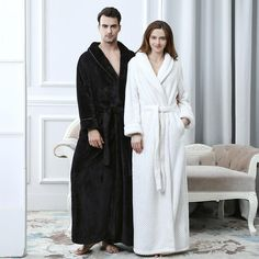 Winter Couple Coral Fleece Bathrobes Women Men Warm Long Sexy Kimono Bath Robe  Plus Size Dressing Gown Bridesmaid Robes Female 12db4d78b